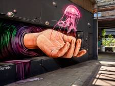 Bijzonder gezicht op Tramkade: enorme hand lijkt uit een muur te steken