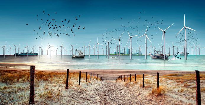 Artist's impression van een energie-eiland in de Noordzee.