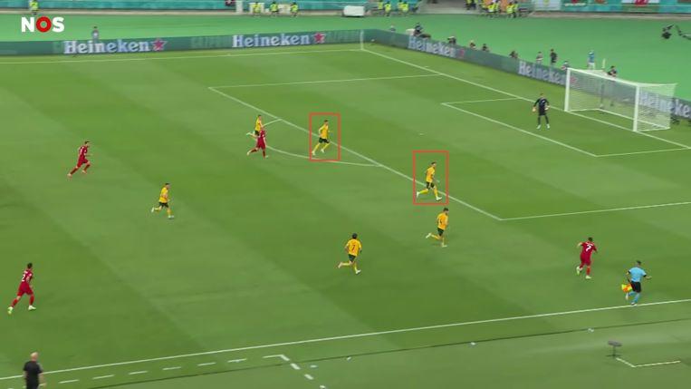 Mepham en Rodon waken over de defensie van Wales. Beeld Screenshot NOS