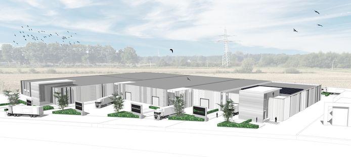 Een impressie van het toekomstige bedrijfsverzamelgebouw langs de N36