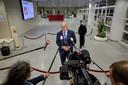 Minister Ferdinand Grapperhaus (Justitie en Veiligheid) staat de pers te woord na het Veiligheidsberaad.