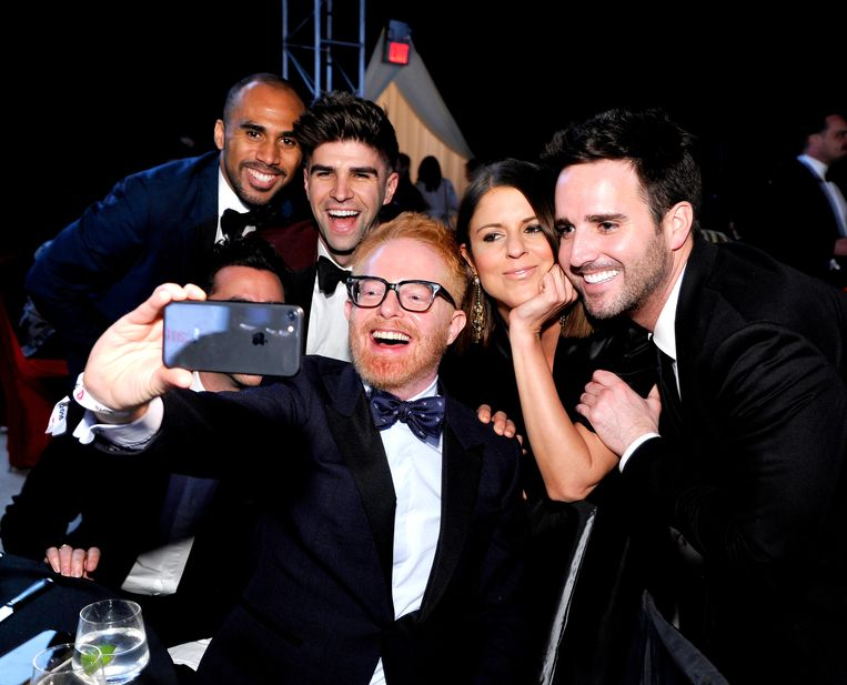 Selfies in Hollywood. Beeld Getty Images for Perry Ellis