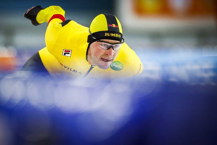 Sven Kramer in actie op de 10.000 meter tijdens de NK Afstanden op 1 november. Beeld ANP