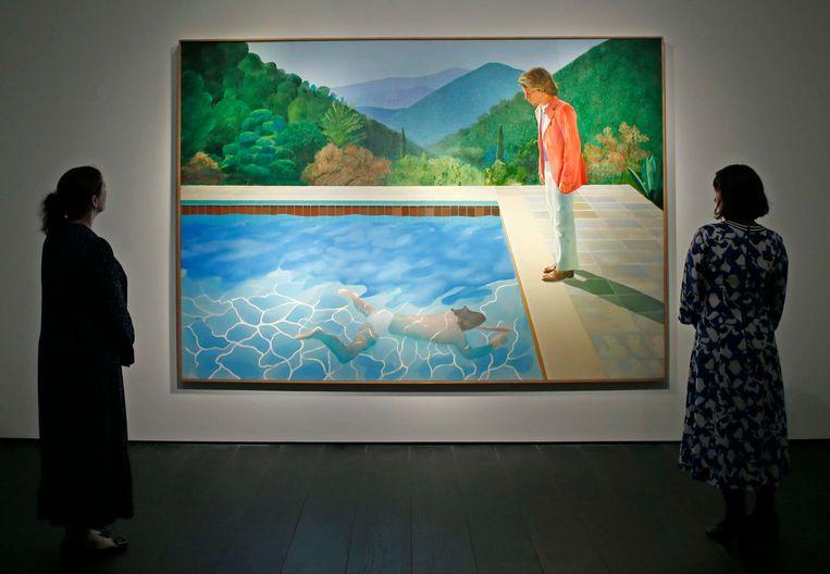 'Portrait of An Artist (Pool with Two Figures)', het schilderij dat in november vorig jaar voor 90 miljoen dollar werd geveild. Beeld Hollandse Hoogte / Eyevine