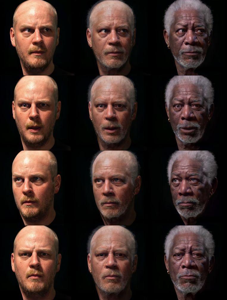 Zijn magnum opus:filmmaker Bob de Jong smelt samen met acteur Morgan Freeman.  Beeld Bob de Jong