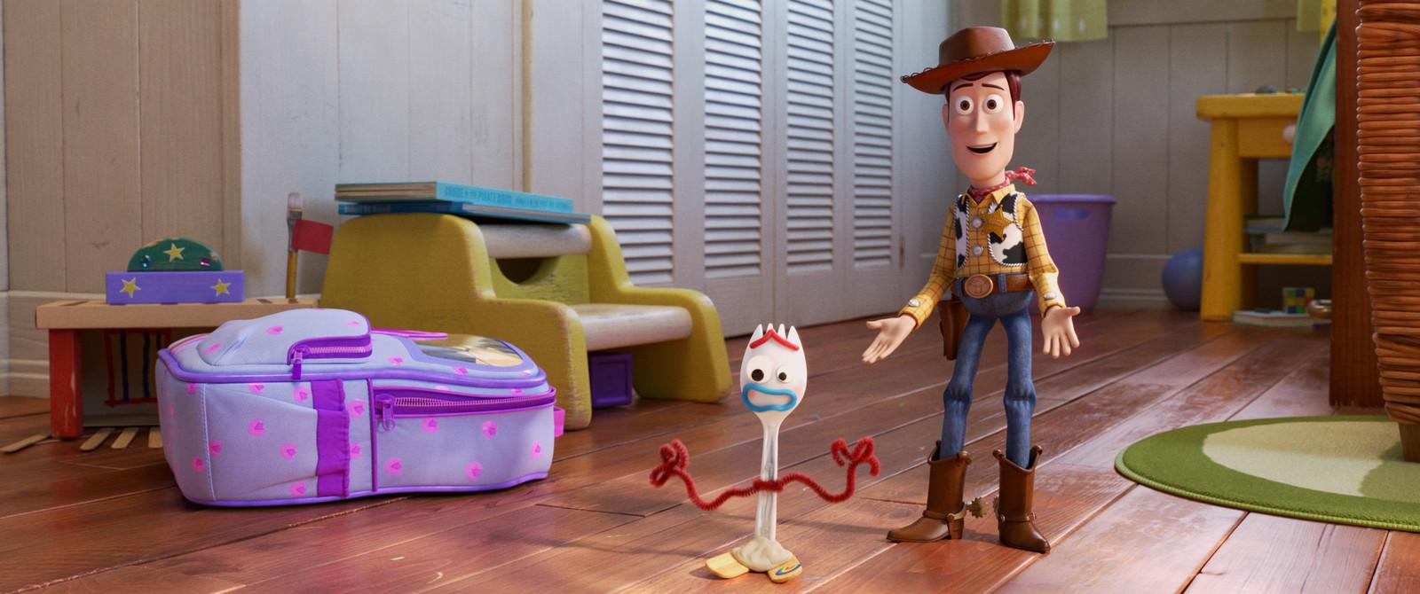 Bonnie maakt in de kleuterschool een nieuwe vriend, Forky.