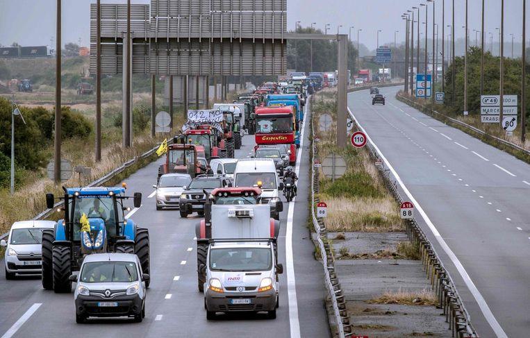 Vrachtwagenchauffeurs blokkeren de weg Beeld afp