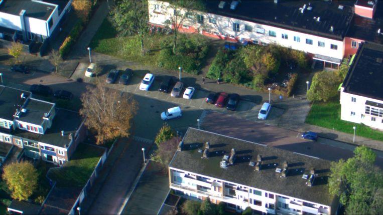 Een luchtfoto van de route die de witte Opel reed. Beeld Politie Amsterdam