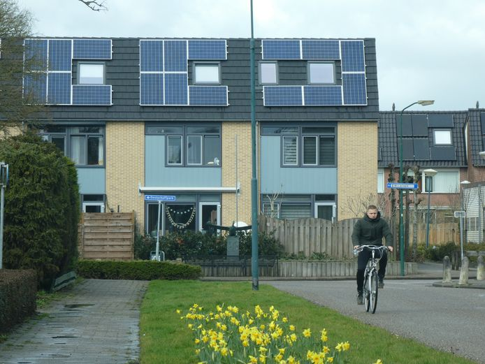 Woningen met zonnepanelen.