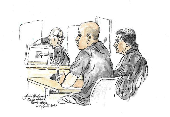 Hassan O. in de rechtbank.