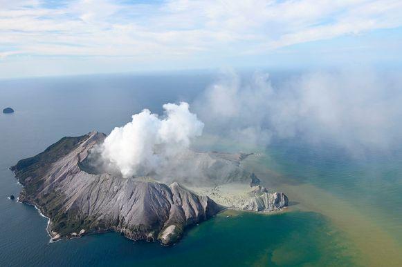 White Island na de vulkaanuitbarsting.