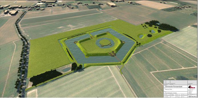 Zo moet de slotgracht om het Kasteel van Wouw er straks uit komen te zien.
