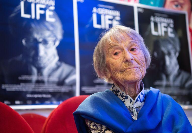 Brunhilde Pomsel, de voormalige secretaresse van Nazi-propagandaminister Joseph Goebbels overleed op 27 januari en werd 106 jaar.  Beeld EPA