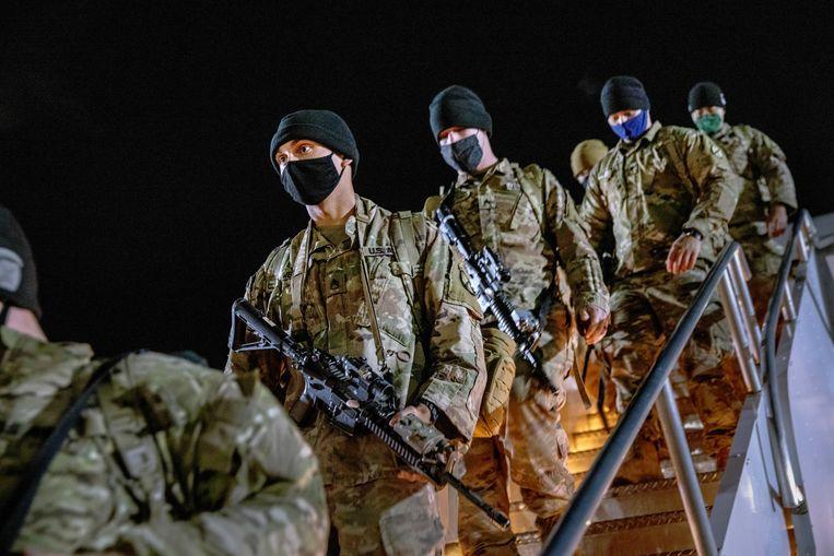 Amerikaanse soldaten komen in december 2020 thuis na negen maanden in Afghanistan. Beeld Getty