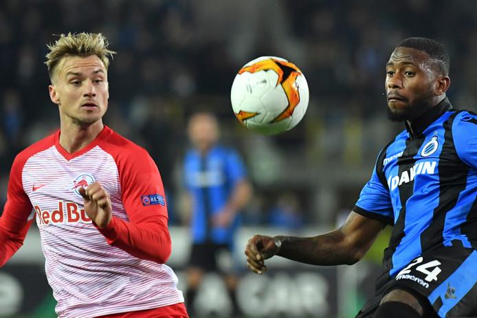 Stefano Denswil (r) kan Nederland een handje helpen door met Club Brugge opnieuw van Red Bull Salzburg te winnen.