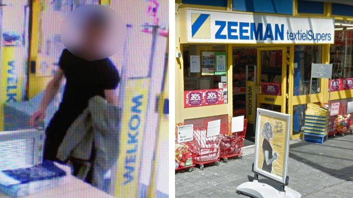 Links: De man op camerabeelden van de winkel. Rechts: De etalage van de Zeeman aan de Lange Zelke.