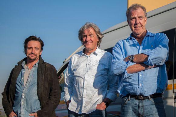 Richard Hammond met zijn collega's James May (midden) en Jeremy Clarkson (rechts).