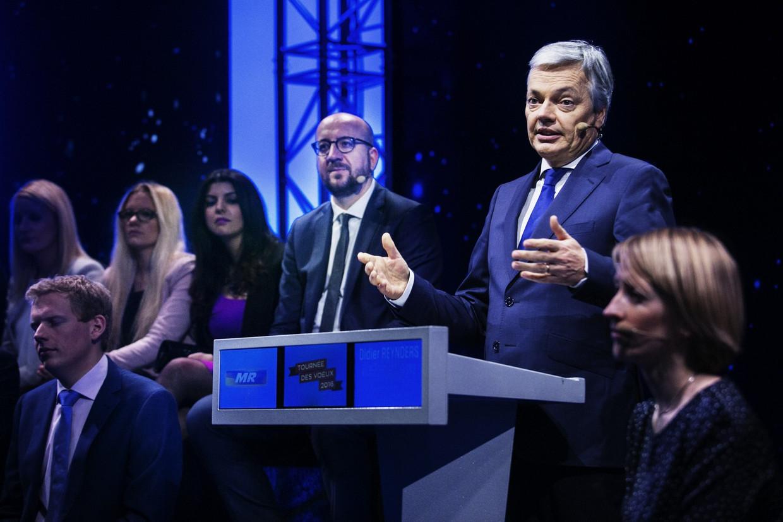 Didier Reynders op een partijcongres. Beeld tim dirven