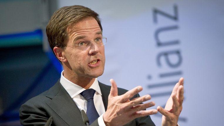 Mark Rutte heeft weer een visiespeech gehouden, ditmaal voor de liberale vrienden van de FDP in Berlijn. Beeld epa