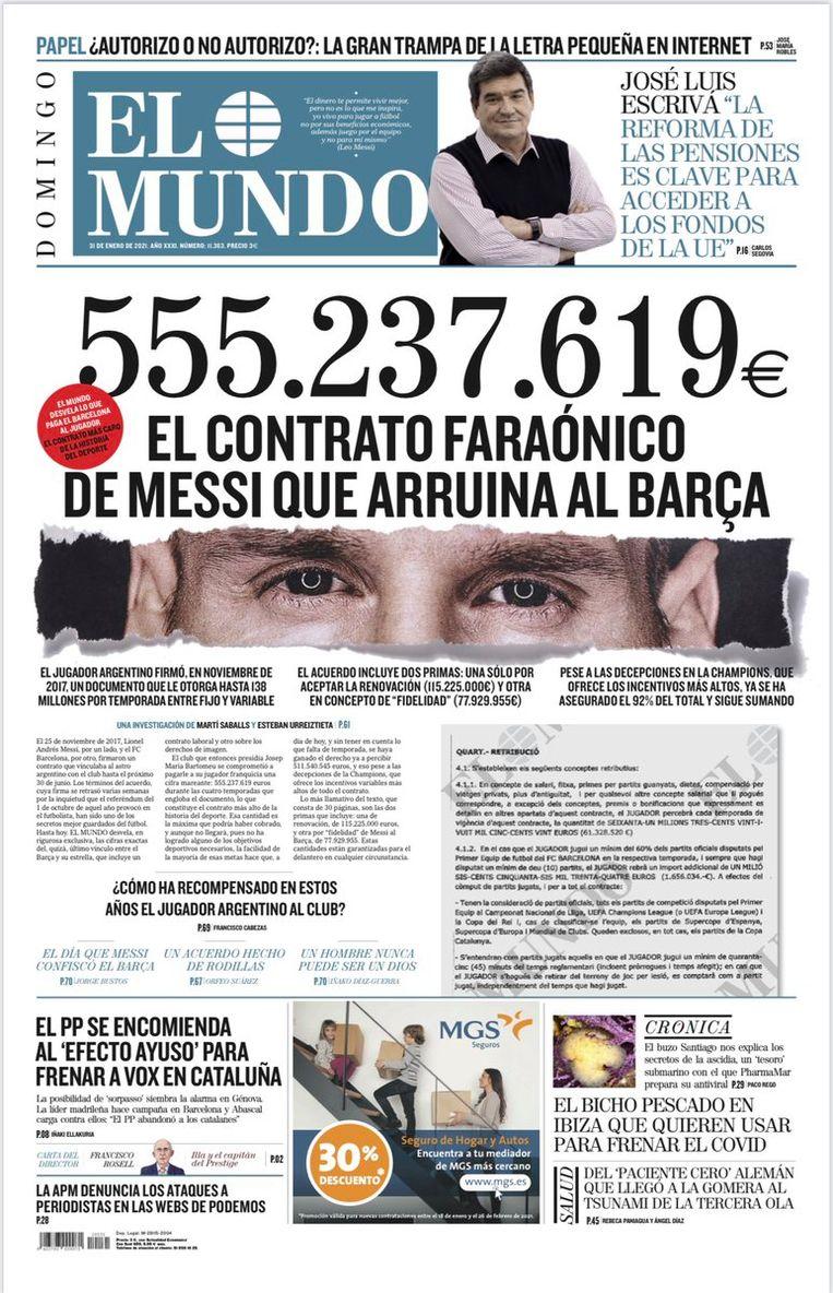 El Mundo maakte het contract van Lionel Messi bekend op de voorpagina van de krant. Beeld