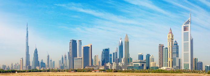 De skyline van Dubai.