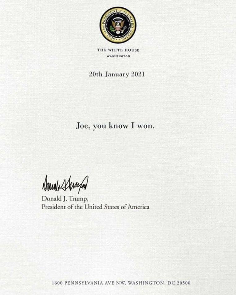 Brief van Trump aan Biden Beeld web