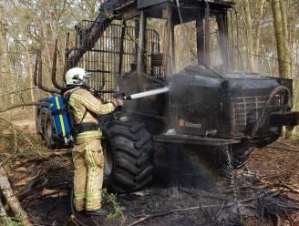 Voertuig om gekapte bomen te transporteren volledig uitgebrand