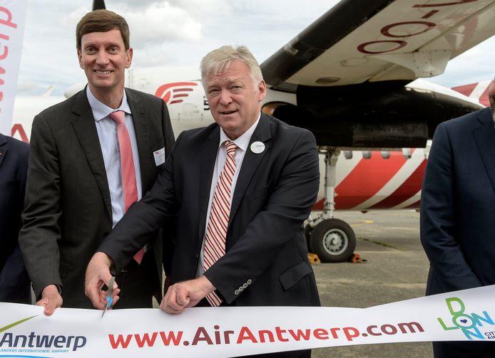 CEO van Air Antwerp Johan Maertens en CEO van Antwerp Airport Marcel Buelens.