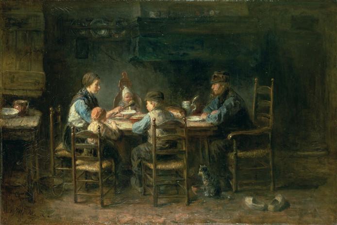 Het schilderij 'Boerengezin aan de maaltijd' van Jozef Israëls zou Vincent van Gogh geïnspireerd hebben tot het maken van de 'De aardappeleters'