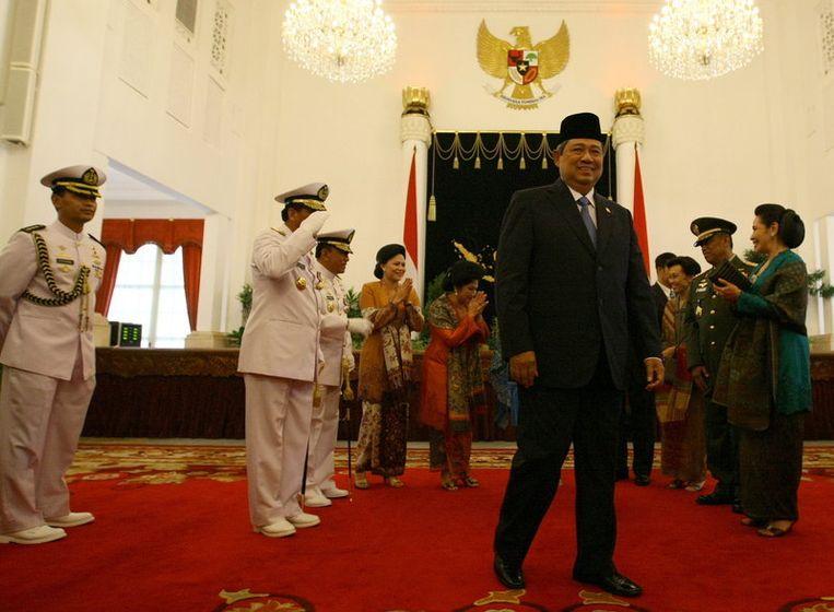 De Indonesische president Susilo Bambang Yudhoyono in het staatspaleis in Jakarta. Foto EPA Beeld epa