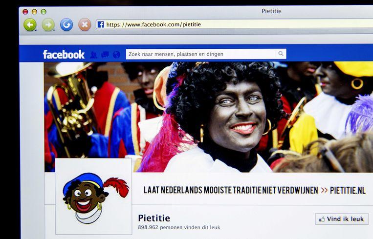 De pro-Sinterklaasfeest Facebookpagina van Pietitie. Beeld ANP