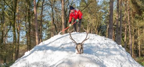 Ondernemer Zandsculpturenfestijn Garderen bouwt reusachtige sneeuwiglo met koffie-to-go voor boswandelaars