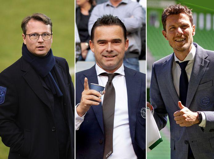 Johannes Spors (Vitesse), Marc Overmars (Ajax) en Mar-Jan Fledderus (FC Groningen)