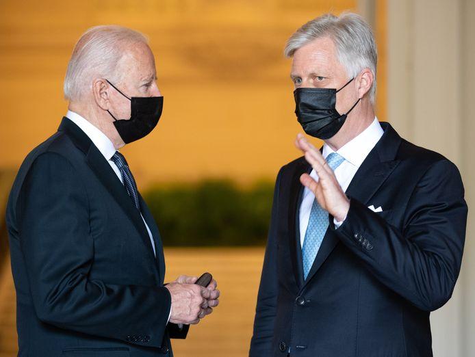 Le président américain Joe Biden et le roi Philippe au palais royal de Bruxelles ce mardi 15 juin.