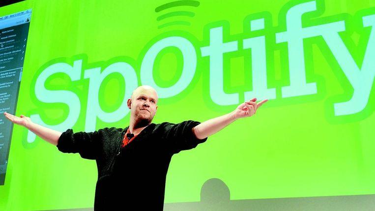 Daniel Ek, oprichter en topman van Spotify, tijdens een persconferentie. FOTO © BLOOMBERG Beeld