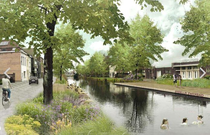 Het stuk kanaal aan het stedelijk openluchtbad Abdijkaai wordt de komende jaren een open zwemvijver.