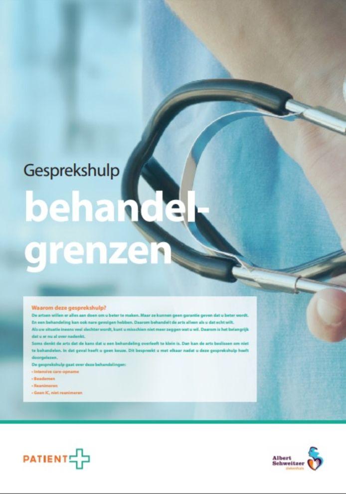 Folder Gesprekshulp Behandelgrenzen van het Albert Schweitzer ziekenhuis.