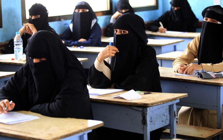 In Sanaa gaan de eindexamens door. Beeld AFP