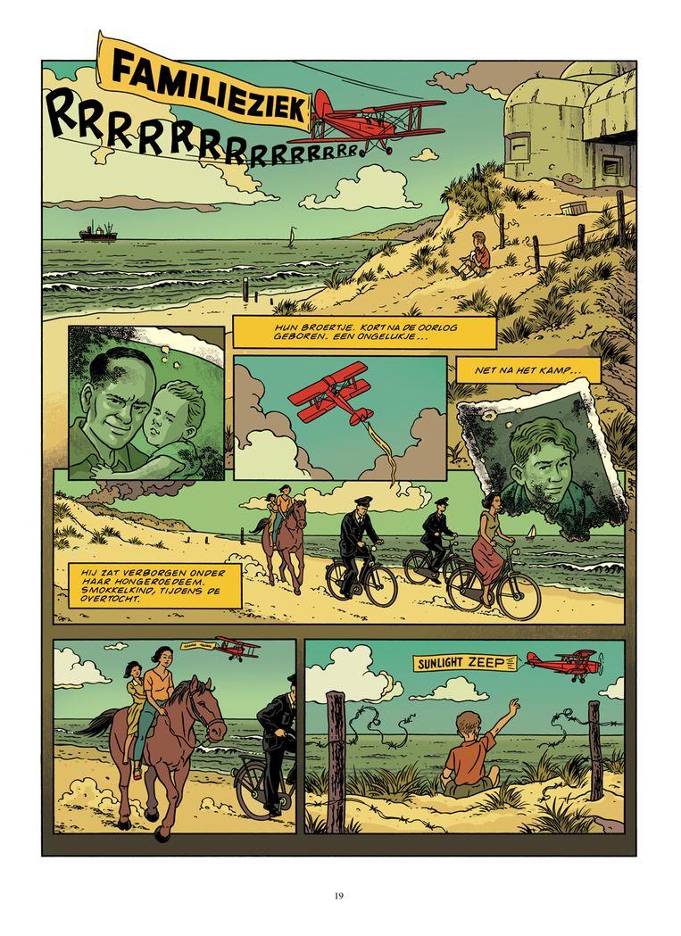 Een bladzijde uit de strip 'Familieziek'. Beeld rv