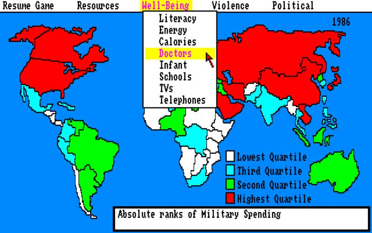 De geopolitieke simulator 'Balance of Power' (1985), een van de eerste games uit het genre. Beeld rv