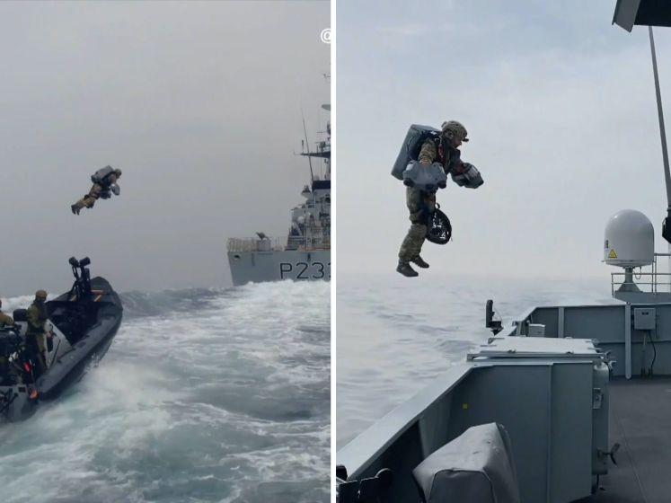 Spectaculaire beelden van vliegende Britse marinier