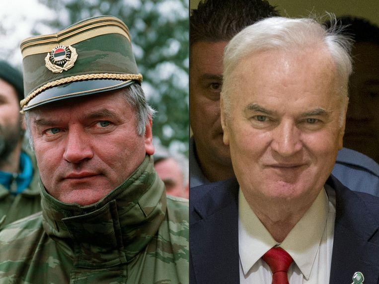 Ratko Mladic in Sarajevo in 1994 en in november vorig jaar in het Internationaal Joegoslavië-Tribunaal.