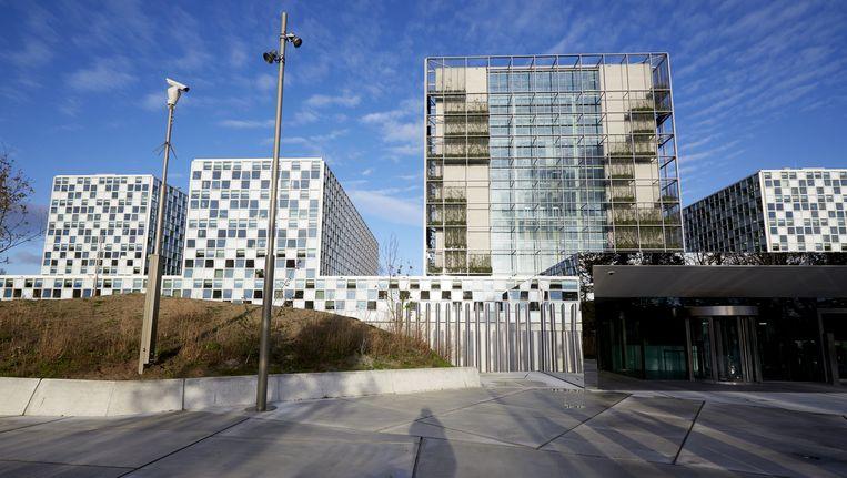De hoofdingang van het nieuwe onderkomen van het Internationaal Strafhof. Beeld anp