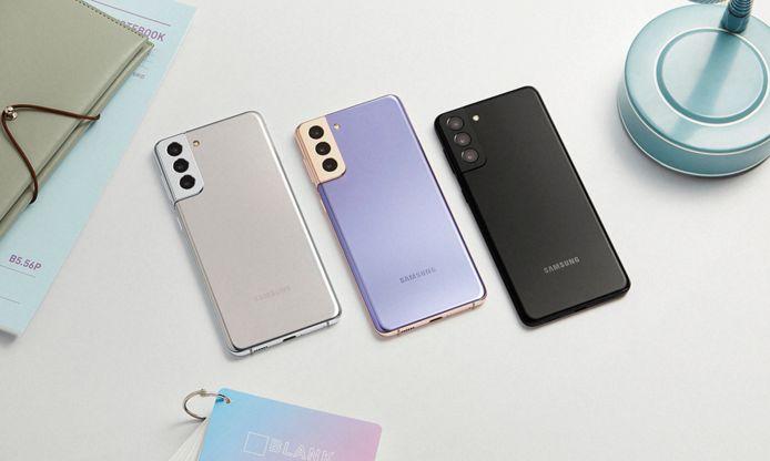 De Samsung Galaxy S21 Plus in drie kleuren.