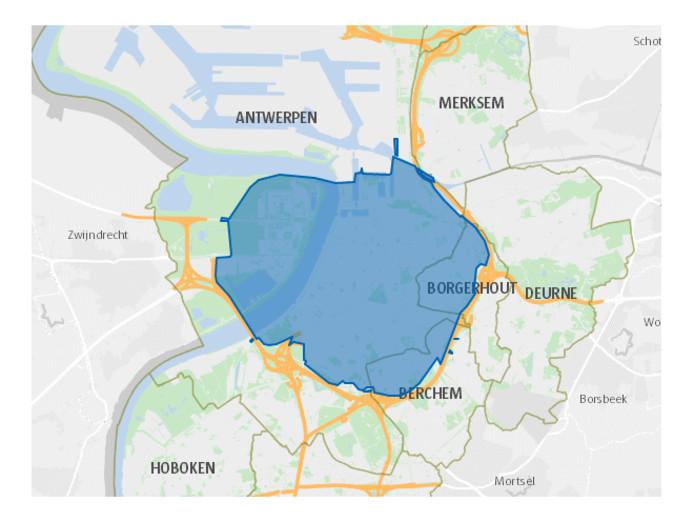 De lage-emissiezone omvat het gebied tussen de Ring en de Schelde op de rechteroever en het gebied tussen de Schelde, E17, Park and Ride Linkeroever en het Sint-Annabos op de linkeroever. De Singel maakt deel uit van de lage-emissiezone.