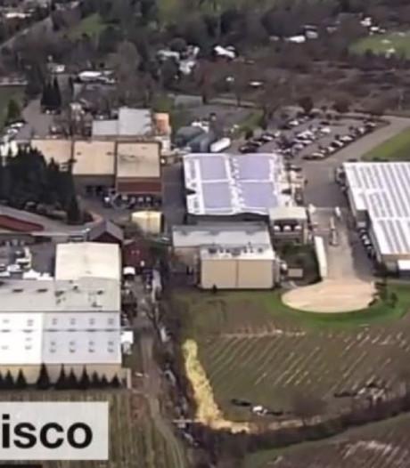Ongeluk op wijngaard VS: 250.000 flessen rode wijn in rivier