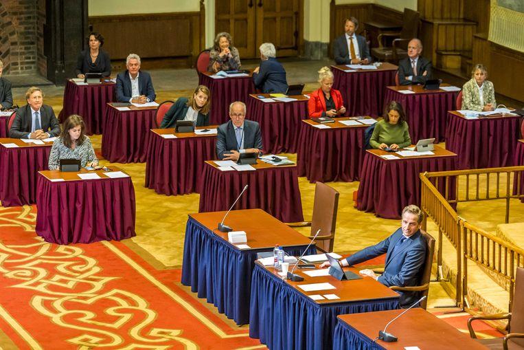De Eerste Kamer tijdens de stemming over de tijdelijke wet over de corona-app. Beeld ANP