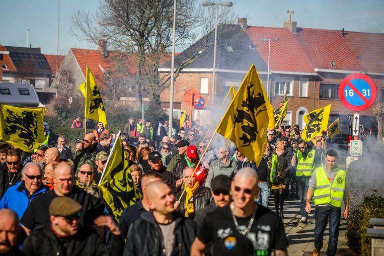 De Vlaamse vlaggen waren alomtegenwoordig.