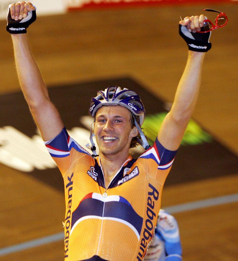 Peter Schep in 2006, toen hij in Bordeaux wereldkampioen puntenkoers werd. Beeld epa