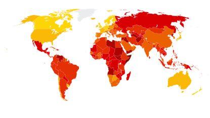 IN KAART: Dit zijn de meest en minst corrupte landen ter wereld